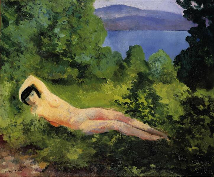 Reclining nude in the leaves, 1918 - Moise Kisling
