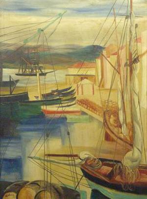 Ships moored along the docks - Moise Kisling