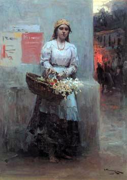 Flower-girl, 1908 - Mykola Pymonenko