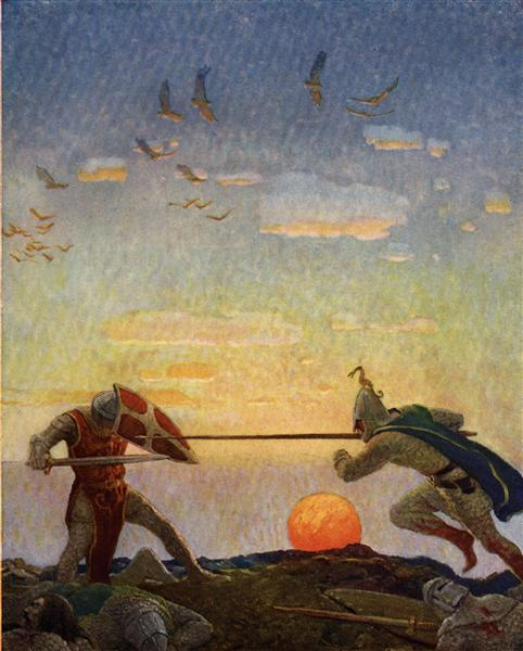 The death of Arthur and Mordred - N.C. Wyeth
