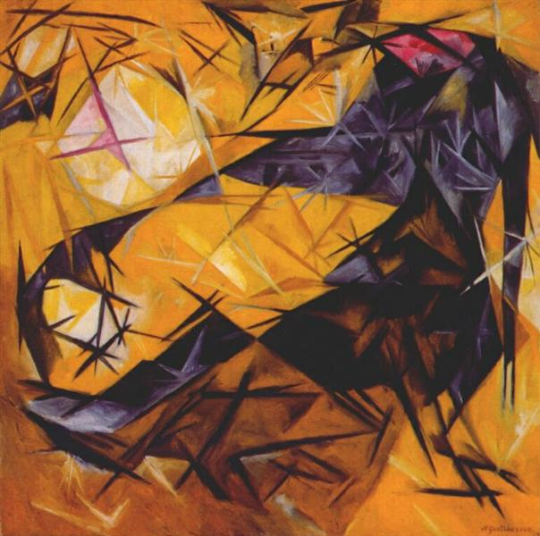 Cats (Rayonist perception in rose, black and yellow), 1913 - Natalia Goncharova