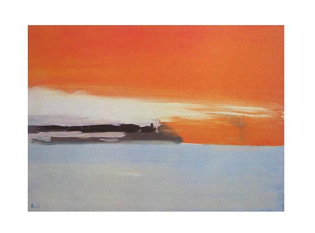 Chemin de fer au bord de la mer, soleil couchant, 1955 - Никола де Сталь