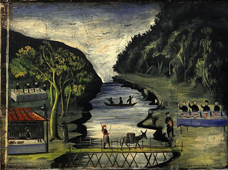 Donkey Bridge (part of Tapestry in six paintings) - Niko Pirosmani
