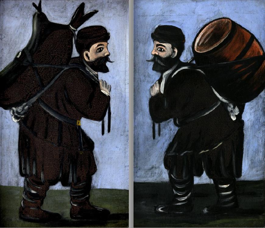 Workers with a barrel (diptych), 1912