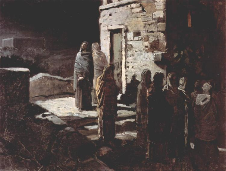 Christ and his disciples entered the Garden of Gethsemane, 1888 - Nikolai Ge
