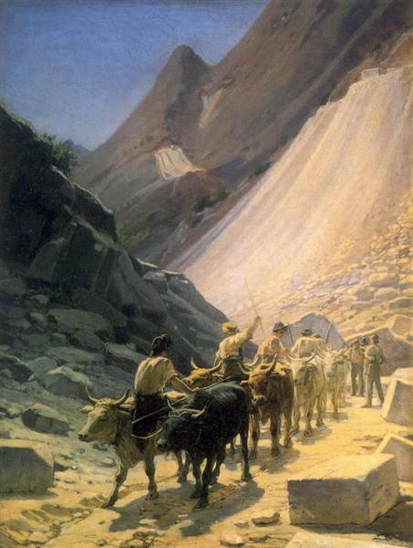 Перевозка мрамора в Карраре, 1868 - Николай Ге