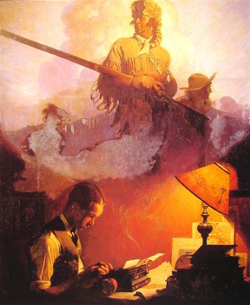 And Daniel Boone Comes to Life on the Underwood Portable, 1923 - Norman Rockwell