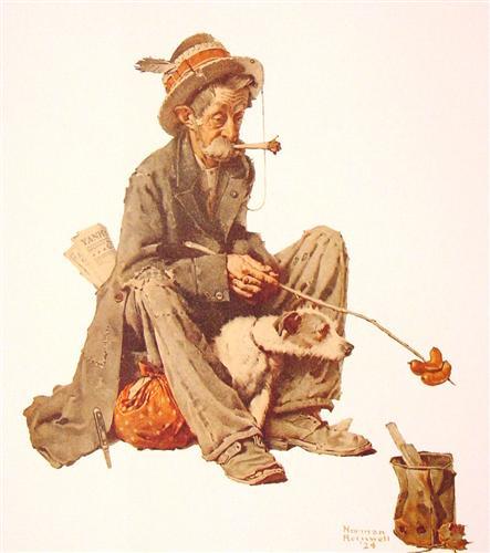 Hobo and Dog - Norman Rockwell
