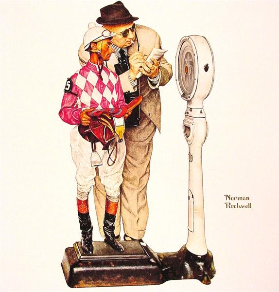 Weighing in, 1958 - Norman Rockwell