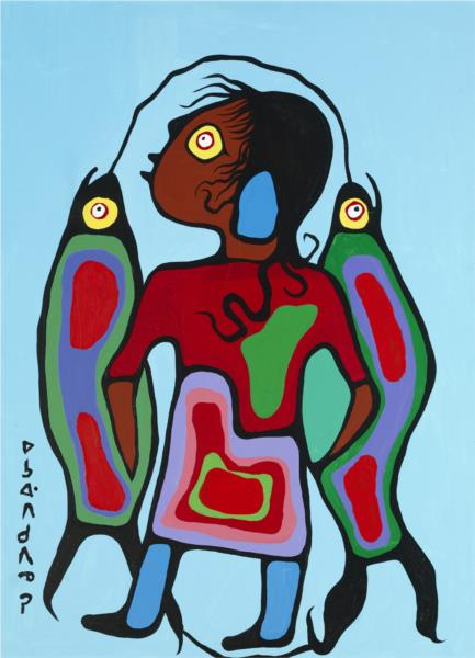 Boy with Fish, 1976 - Norval Morrisseau