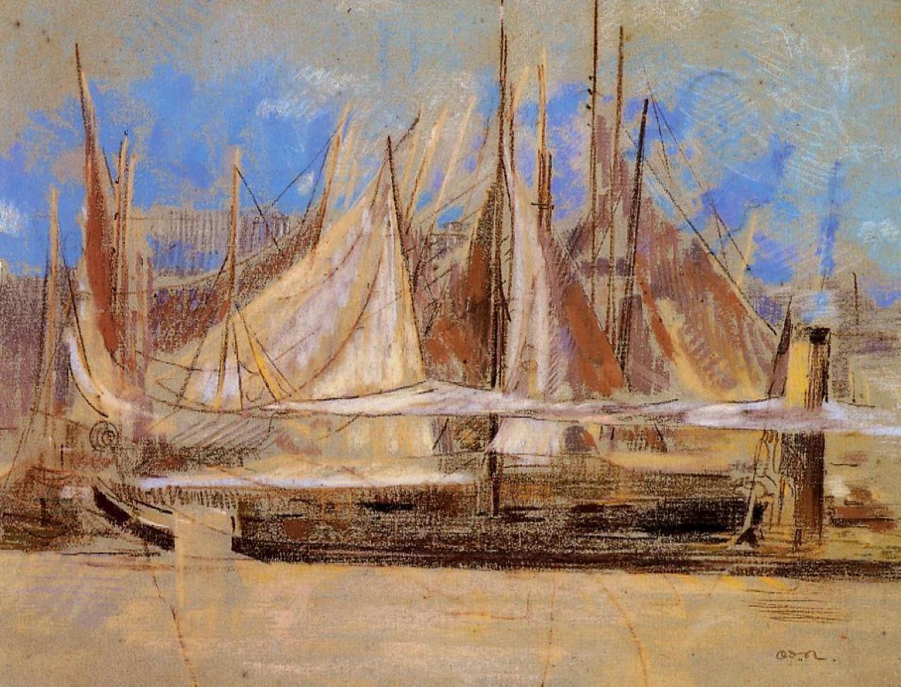 Yachts at Royan - Odilon Redon. Artist: Odilon Redon. Completion Date: 1902