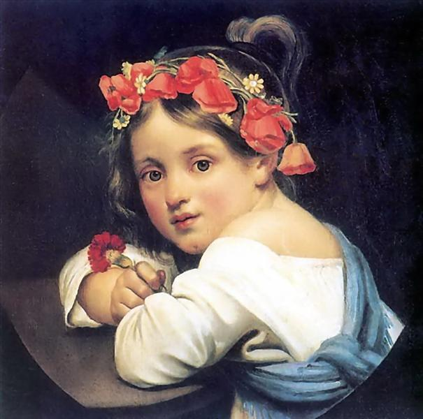Girl wearing the poppy wreath, 1819 - Orest Kiprensky