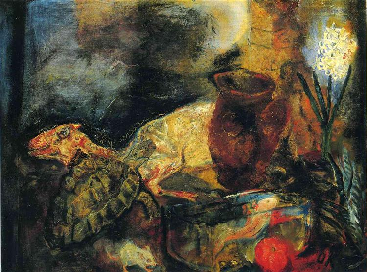 Still life with a slaughtered lamb, 1910 - Оскар Кокошка