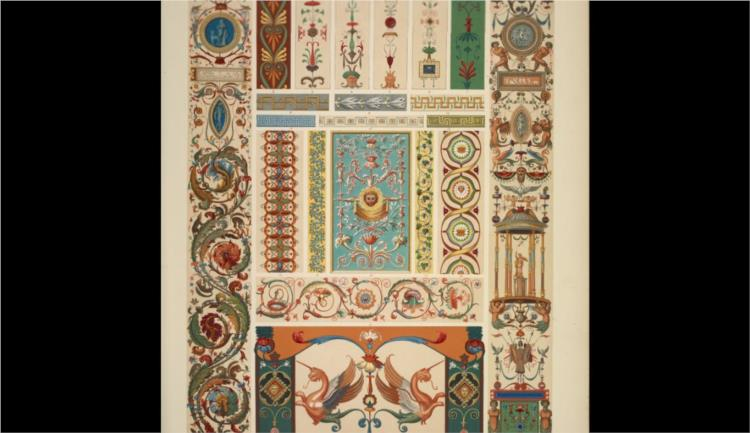 Italian Ornament no. 1. Pilasters and ornaments from the loggie of the Vatican, reduced from the full size paintings at Marlborough House - Owen Jones