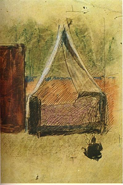 Bed with mosquito nets, 1906 - Pablo Picasso