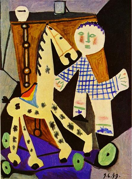 Claude, two years old, and his hobby horse, 1949 - Pablo Picasso