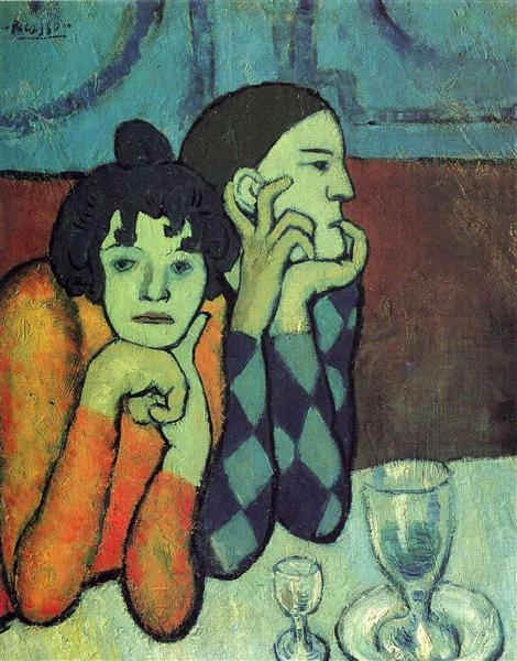 Two acrobats (Harlequin and his companion), 1901 - Pablo Picasso