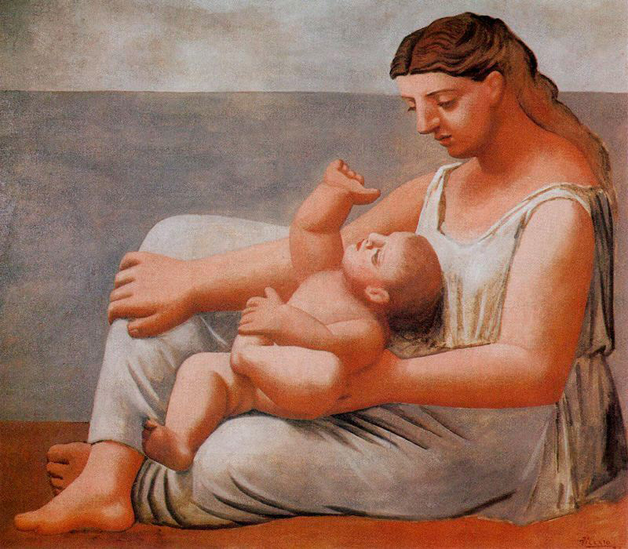 Woman with child on the seashore, 1921