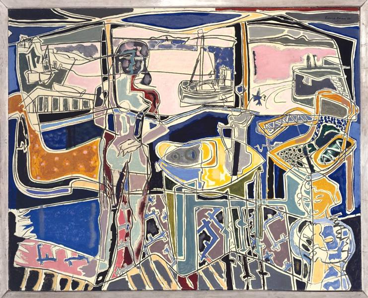 Harbour Window with Two Figures, St Ives: July 1950 - Patrick Heron