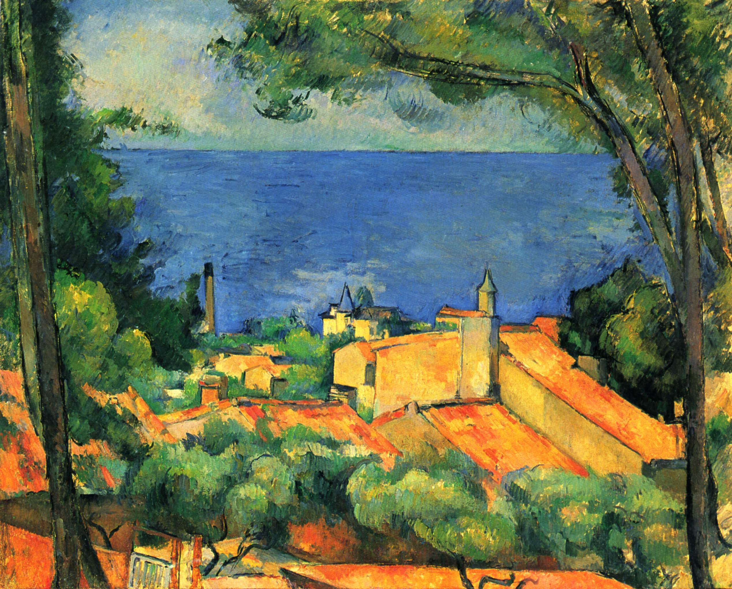 Lu0027Estaque With Red Roofs, 1885   Paul Cezanne