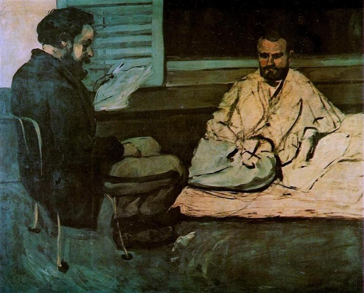 Paul Alexis  Reading a Manuscript to Emile Zola, c.1870 - Paul Cezanne
