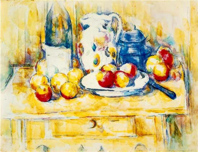 Still Life with Apples, a Bottle and a Milk Pot, c.1904 - Paul Cézanne