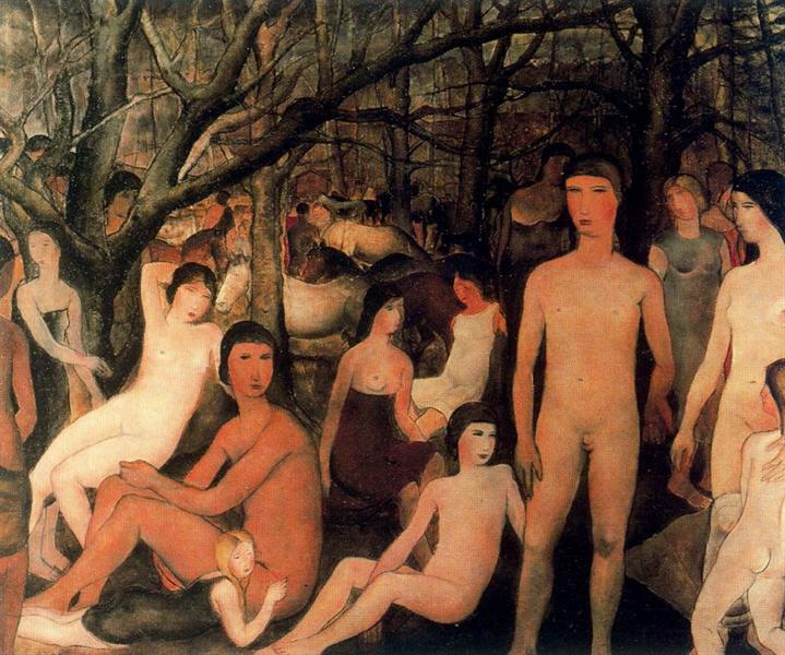 Group of nude figures in a forest - Paul Delvaux