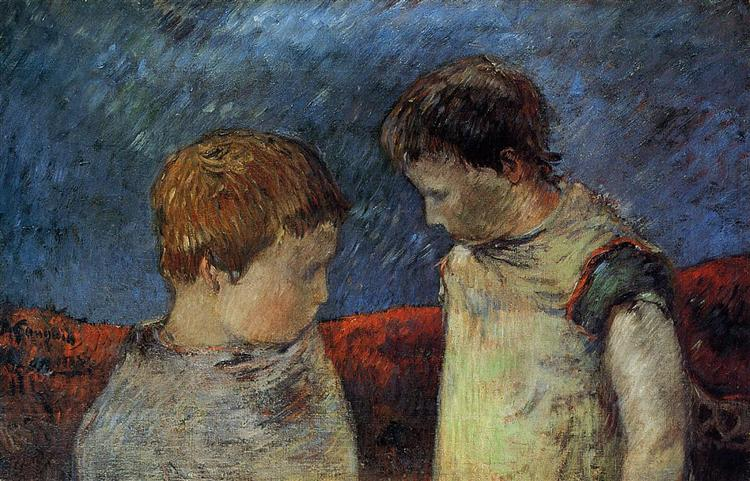 Aline Gauguin and one of her brothers, c.1883 - Paul Gauguin