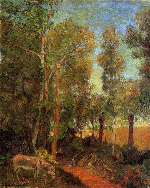 Donkey by lane, 1885 - Paul Gauguin