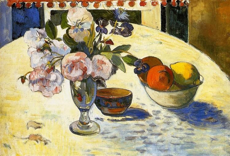 Flowers in a fruit bowl, 1894 - Paul Gauguin
