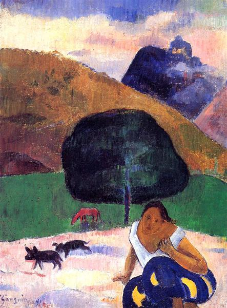 Landscape with black pigs and a crouching Tahitian, 1891 - Paul Gauguin