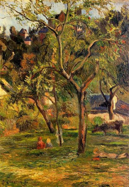 Orchard under the Church of Bihorel (Children in the Pasture), 1884 - Paul Gauguin