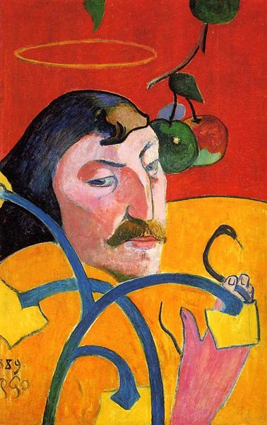 Self Portrait with Halo and Snake - Paul Gauguin