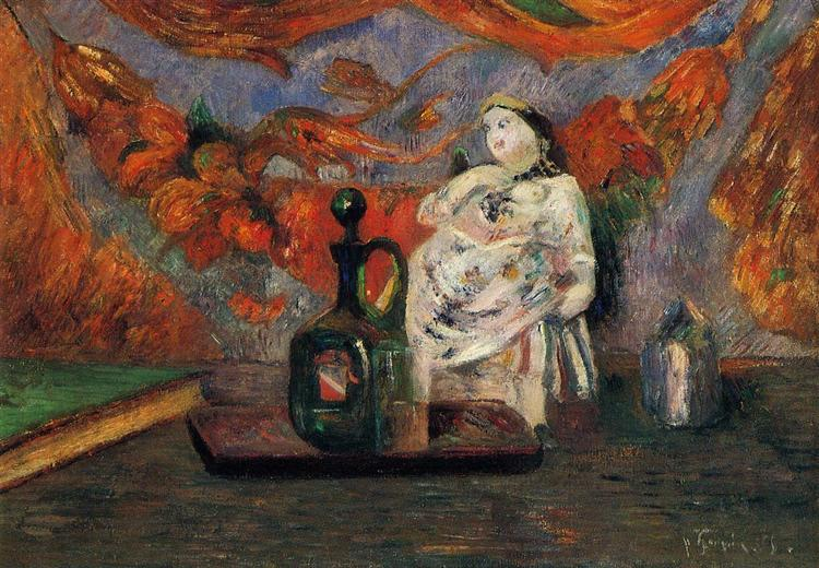 Still life with carafe and ceramic figure, 1885 - Paul Gauguin