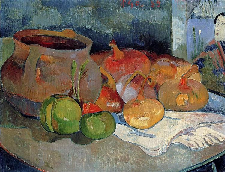 Still life with onions, beetroot and Japanese print, 1889 - Paul Gauguin