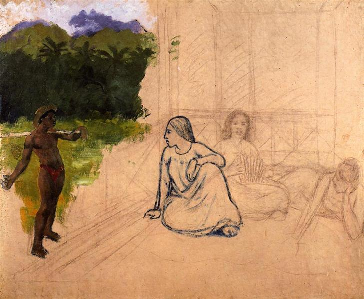 Tahitians at rest (unfinished), c.1891 - Paul Gauguin