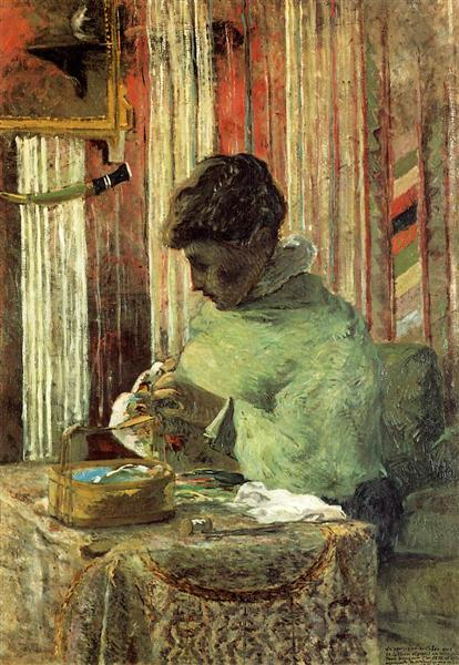 The embroiderer or Mette Gauguin, 1878 - Paul Gauguin
