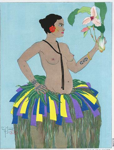 Belle De Yap Et Orchidees. Ouest Carolines, 1934 - Paul Jacoulet