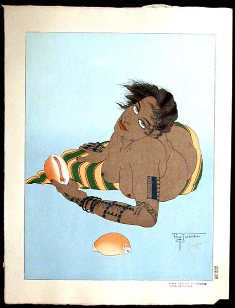 Femme Tatouee De Falalap. Ouest Carolines, 1935 - Paul Jacoulet