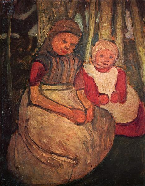 Two girls seated in the birch forest, c.1904 - c.1905 - Paula Modersohn-Becker
