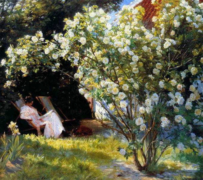 Marie in the Garden (The Roses) - Peder Severin Kroyer