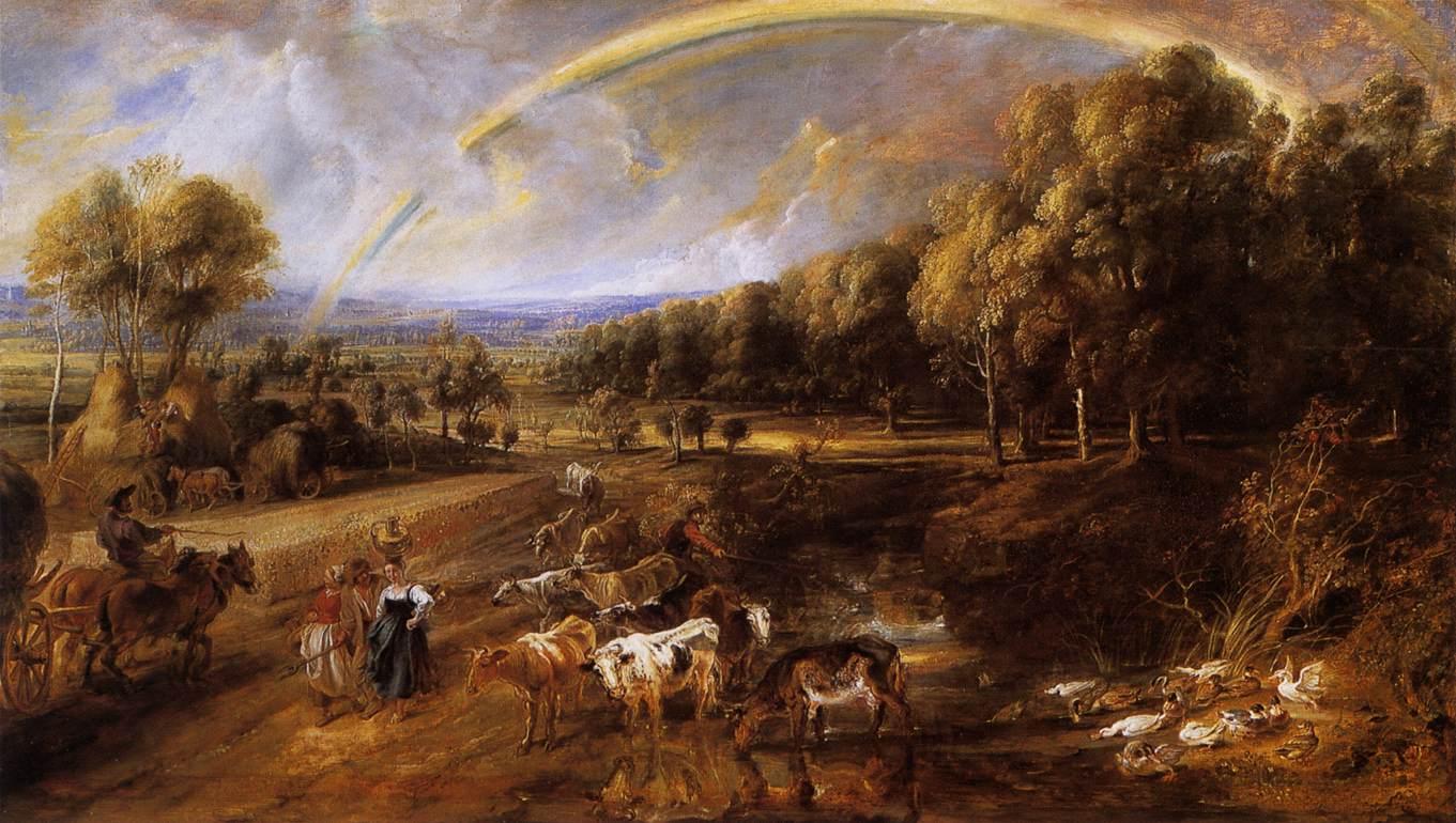 Rainbow landscape original oil pastel drawing - Landscape With A Rainbow C 1636 C 1638 Peter Paul Rubens