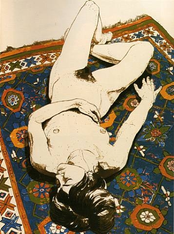 Figure Lying on Rug, 1970 - Philip Pearlstein