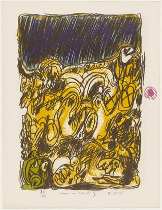 Rush (Ruée) from the portfolio Pencil on Shell, 1971 - Pierre Alechinsky