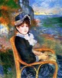 Mulher Sentada à Beira-mar - Pierre-Auguste Renoir