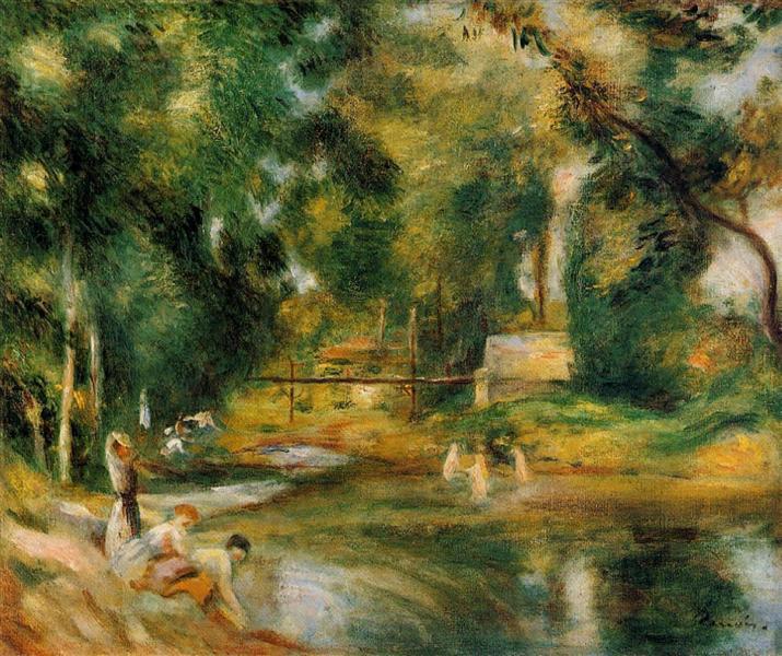 Essoyes Landscape Washerwoman and Bathers, 1900 - Pierre-Auguste Renoir