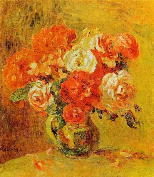 Flowers in a Vase - Pierre-Auguste Renoir