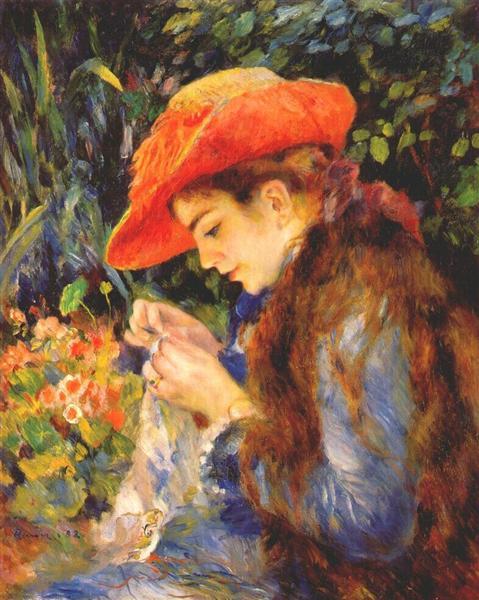 Marie Therese durand ruel sewing, 1882 - Pierre-Auguste Renoir