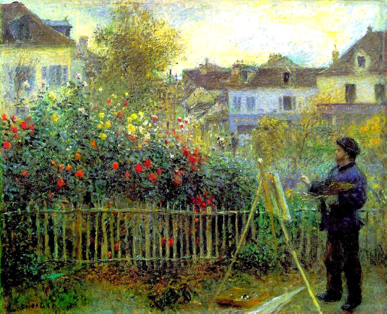 Monet painting in his garden at argenteuil 1873 pierre auguste renoir - Jardin de maison argenteuil ...
