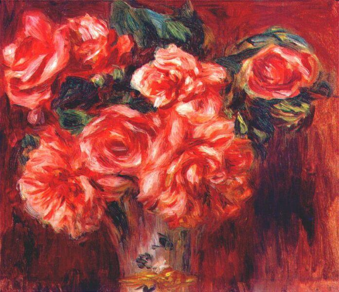 Moss roses, c.1890 - Pierre-Auguste Renoir
